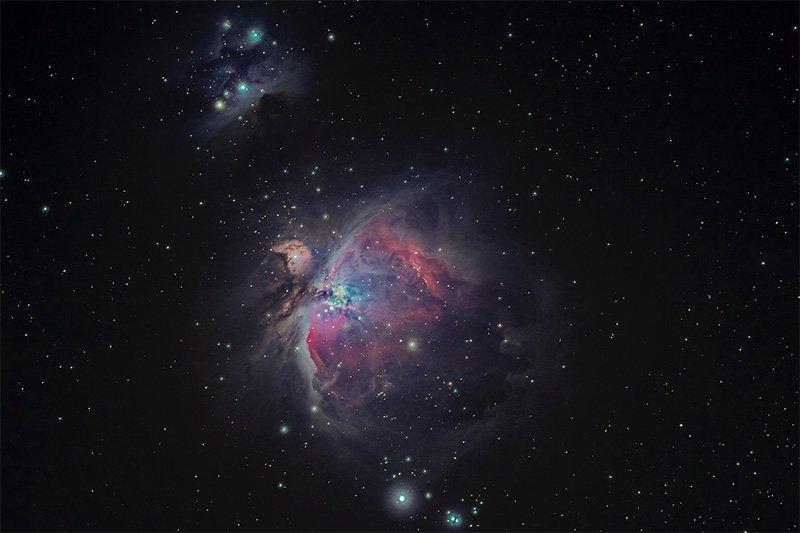 orion nebula as seen through refractor telescope